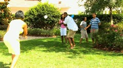 African American Family Playing Baseball in Park Stock Footage
