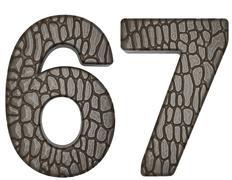 Alligator skin font 6 7 digits Stock Illustration