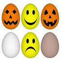 Stock Illustration of eggs with easter and halloween smile - emoticon