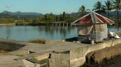 Milk fish farms on Panay island-Philippines Stock Footage