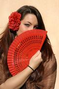 Espanja, espanjalainen nainen tuuletin Kuvituskuvat