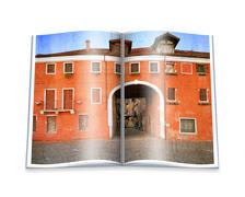 An opened  book with a picture old venetian yard, italy. Stock Photos