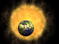 Earth and sun, global warming Stock Illustration