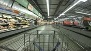 Stock Video Footage of 1080p HD Stock Footage - Time lapse in Store - Shopping Cart Wide angle 30p
