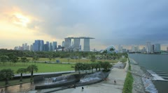 Sunset at Marina Barrage in Singapore Timelapse 1080p Stock Footage