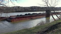 Full Coal Barges on the River Stock Footage