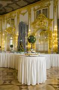 The Catherine Palace - Cavaliers Dining Hall - Courtiers-in-Attendance Dining Ro - stock photo