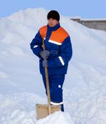The worker removes the snow Stock Photos