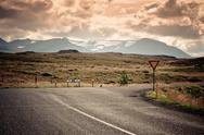 Stock Photo of road junction at north iceland mountain landscape