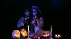 Couple Wishes Happy Halloween Stock Footage