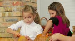 Children Make Halloween Decorations Stock Footage
