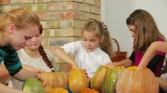 Carving Halloween Pumpkins - stock footage