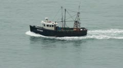 Cu of Trawler on open sea - stock footage
