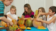 Children On Halloween Stock Footage