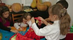 Children Making Halloween Decorations Stock Footage