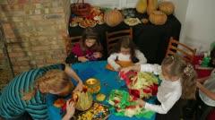 Stock Video Footage of Halloween: Children Crafting