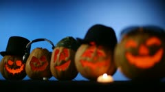 Carved Pumpkins In A Row Stock Footage