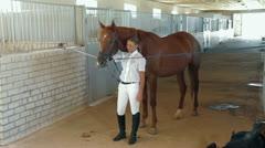 Horseback Riding Preparation Stock Footage