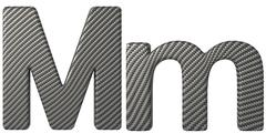 Carbon fiber font m lowercase and capital letters Stock Illustration