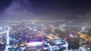Stock Video Footage of Night Cityscape Timelapse 62 Los Angeles Traffic Clouds