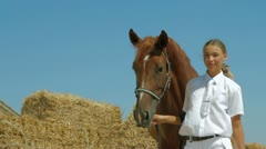 Horse And Rider Posing Stock Footage