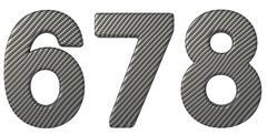 Carbon fiber font 6 7 8 numerals Stock Illustration