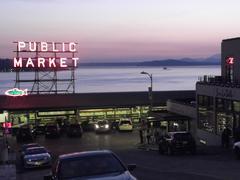 Seattle Pike Street Fish Market Sunset 1 - stock photo