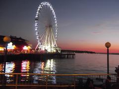 Seattle Waterfront Ferris Wheel Sunset Stock Photos