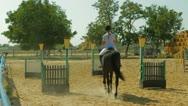 Horse, Jockey, Hurdle Stock Footage