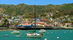 Catalina Avalon Bay Sailboat Stock Footage