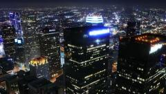 Night Cityscape Timelapse 75 Los Angeles Traffic Clouds Pan Stock Footage