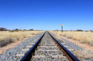 Stock Photo of namibian desert railway line perspective