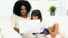 Mother Little Ethnic Girl Laptop Computer - stock footage