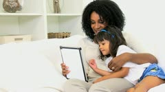 Portrait Mom Daughter Wireless Tablet - stock footage
