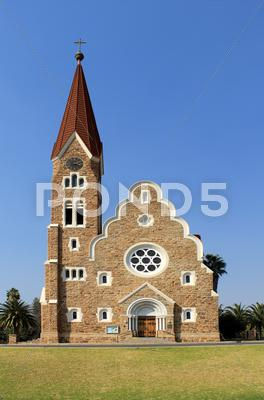 Stock photo of christuskirche, famous lutheran church landmark in windhoek