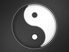 Ying yang stitched symbol on leather Stock Illustration