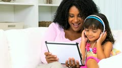 African American Mother Child Wireless Tablet Music Stock Footage