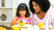 Mom Infant Daughter Playing Cake Decoration Stock Footage