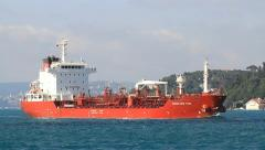 Red tanker ship full of oil. HD, Tracking Video Stock Footage