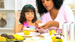 Little Ethnic Girl Young Mom Pretend Baking Stock Footage