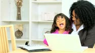 African American Working Mom Cute Daughter Stock Footage
