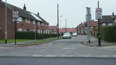 Slow 20mph Zone street council estate Stock Footage