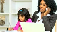 Working Mom With Pre School Daughter Stock Footage
