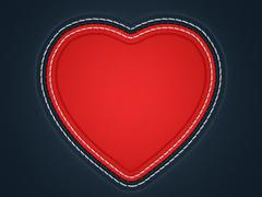 red stitched heart shape on black leather - stock illustration