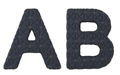 Luxury black stitched leather font a b letters Stock Illustration