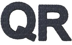 luxury black stitched leather font q r letters - stock illustration