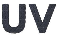 luxury black stitched leather font u v letters - stock illustration