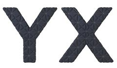luxury black stitched leather font x y letters - stock illustration