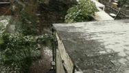 Stock Video Footage of Snow in garden- looking down