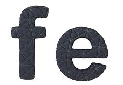 Lowercase stitched leather font f e letters Stock Illustration